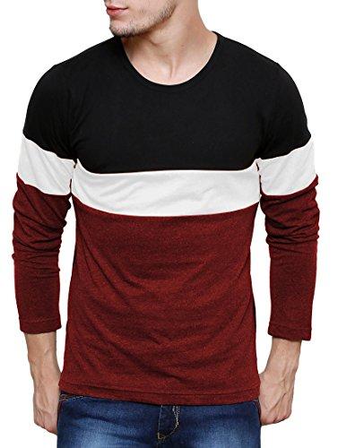 Cenizas Men's Plain Slim Fit T-Shirt (TSHA110BKML_Black Maroon)