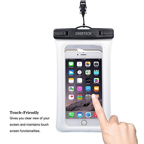 Custodia Impermeabile Smartphone Choetech® [15 Cm / 6 Pollici] Busta Cellulare Impermeabile Universale per iPhone SE / 6s / 6s Plus, Samsung S7 / S7 edge / S6 / S6 Edge, Huawei, HTC, Nexus ed altri Sm Bianco
