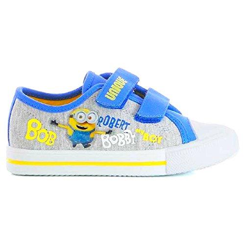 Minions Kinder Sneaker, mit Klettverschluss, grau/blau, Gr. 24-32 Grau/Blau