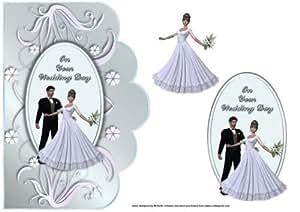 Mariée et marié carte de mariage bord festonné par Michelle Johnson