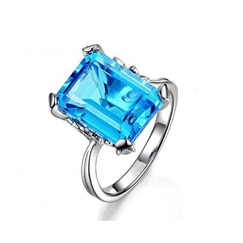 Uloveido Charm Weißes Gold Überzogener Smaragd Cut Blue Zirkonia CZ Birthstone Ringe Labor Erstellt Aquamarin Kristall Aussage Ringe mit Schöne Blatt für Frauen Mädchen Größe 59 (18.8) RJ292