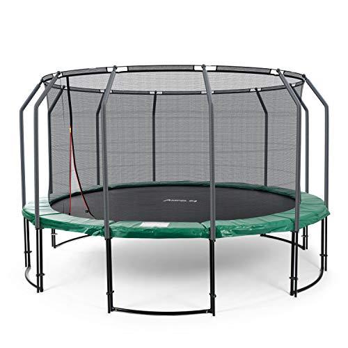 Ampel 24 Deluxe Outdoor Trampolin 430 cm grün komplett mit innenliegendem Netz, Belastbarkeit 160 kg, Sicherheitsnetz mit 12 gepolsterten Stangen