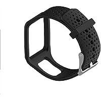 Zhuhaimei,Banda de Reloj de Silicona para Tomtom Multi-Sport GPS + HRM Series Pulsera Inteligente(Color:Negro)