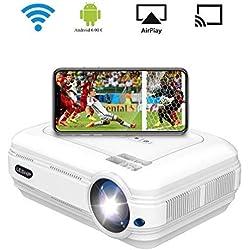 Proyector de Vídeo, LESHP LED Proyector Portátil con Sistema Android 3200 lumens Full HD 1080p proyector para Home Cinema (Altavoz Incorporado, con USB/ HDMI/ VGA/ AV, para PC Computadora Xbox)