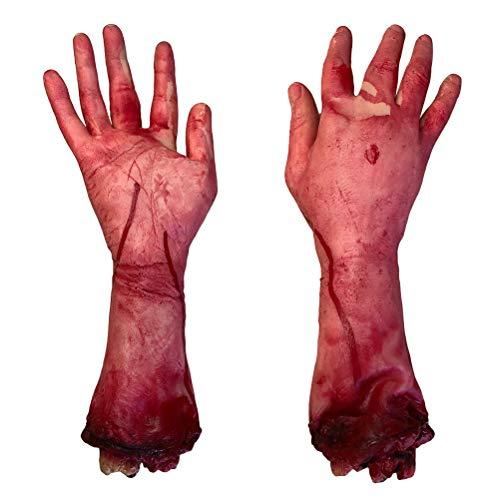 TOYANDONA Halloween Blood Broken Hands Requisiten Fake Scary Severed Körperteile für Party Dekore 2PCS (Halloween Hand Fake)
