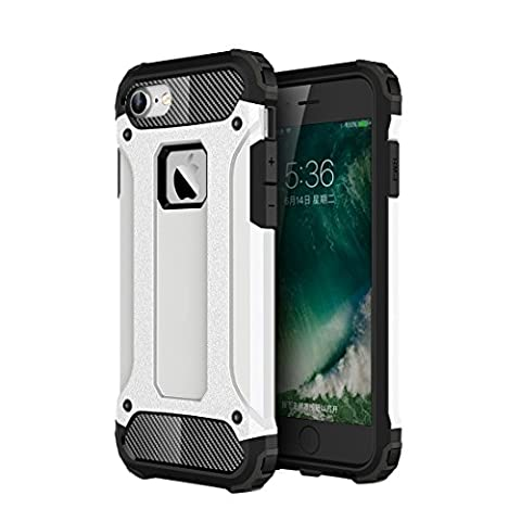 iPhone 8 7 Tough Case, Fone-Stuff® - 2 Layer X-Armor Shell Hard Back Cover – White