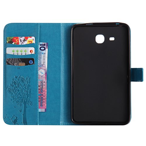 Custodia Galaxy Tab A 7.0, Galaxy Tab A 7.0 Flip Case Leather, SainCat Custodia in Pelle Cover per Samsung Galaxy Tab A 7.0 T280/T285, Anti-Scratch Book Style Protettiva Caso PU Leather Flip Portafogl Blu