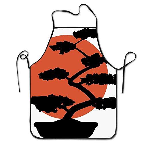 SPHGdiy Bonsai Tree Japanese Rising Sun Distressed Kitchen Overlock Apron