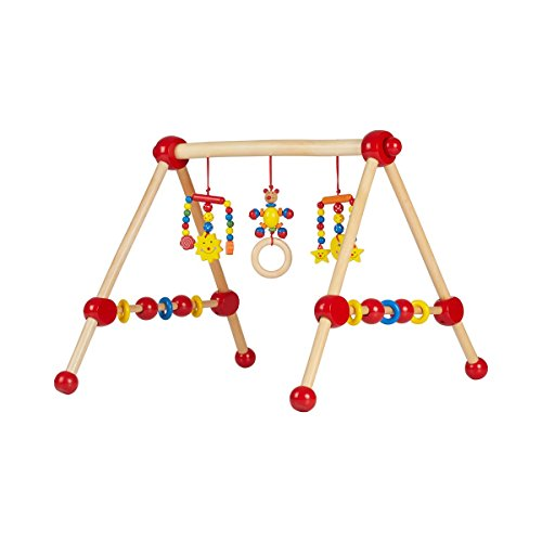 solini Spieltrapez aus Holz – Babyspielzeug mit Kugeln und Ringen – fördert die Motorik – bunt