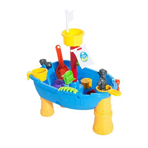 Homcom Spieltisch Sandkastentisch Wassertisch Sandkasten Spielzeug mit Zubehör 24-tlg.