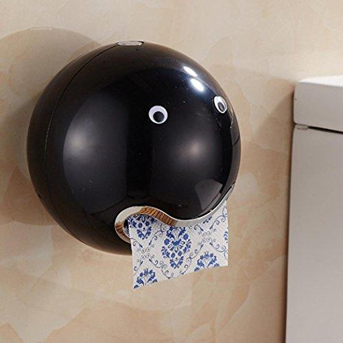 """DOLDOA Kreative Emoji Toilettenpapierhalter Wasserdichte WC-Rollenhalter Klopapierhalter (18,5 x 18,5 cm / 7,28 """"x 7,28"""", Schwarz - Toilettenpapierhalter)"""