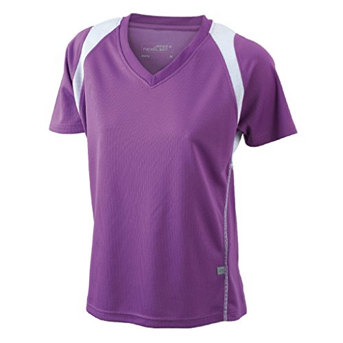 JAMES & NICHOLSON Atmungsaktives Laufshirt Purple/White