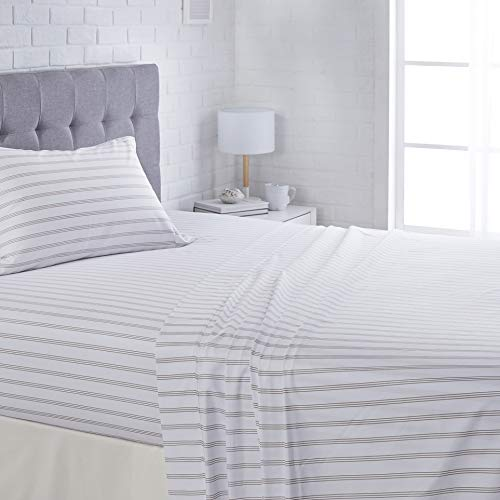 AmazonBasics Microfiber Sheet Set - (Includes 1 bedsheet, 1 Fitted Sheet with Elastic, 2 Pillow Covers) Full, Grey Stripe