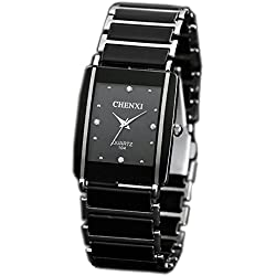 ufengke® retro imitation square dial watch, popular rhinestone watch for men- black