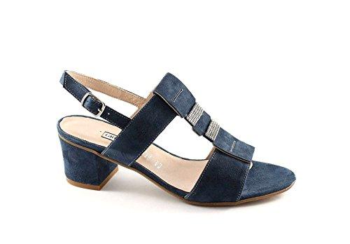 GRUNLAND AULO SA1298 blu sandali donna camoscio strass Blu