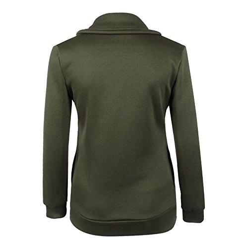 LHWY Femmes Winter Zipper Blouse Hoodie Sweat à capuche Pull Jacket Vert
