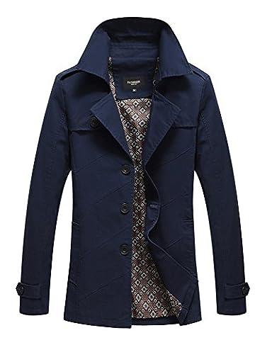 LaoZan Veste Trench Coat classique manteau court Parka - Manches longues - Homme M Bleu foncé