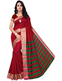 Krishna Enterprises Poly Cotton Silk Red And Green Color Women Saree, Ladies Saree 500 Rupees, Saree 200, Saree...