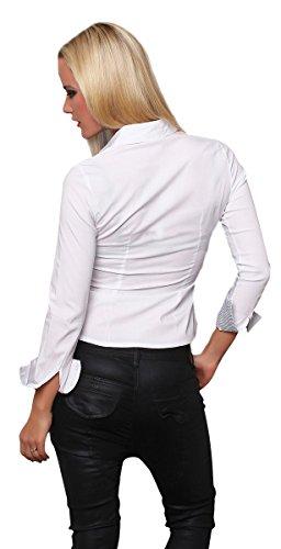 Fashion4Young Damen Langarm Businessbluse Bluse Hemd Business Eleganz Hemdbluse elastischem Stretch Weiß