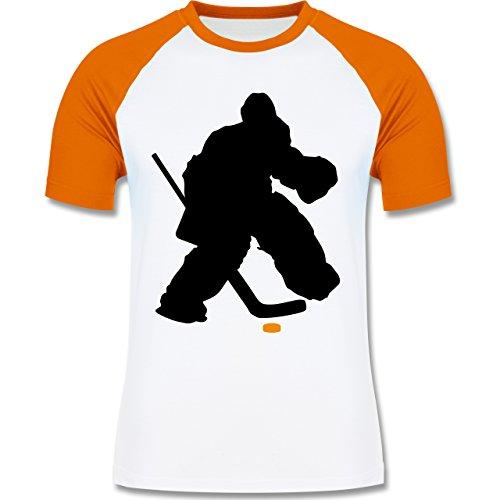 Eishockey - Eishockeytorwart Towart Eishockey - zweifarbiges Baseballshirt für Männer Weiß/Orange