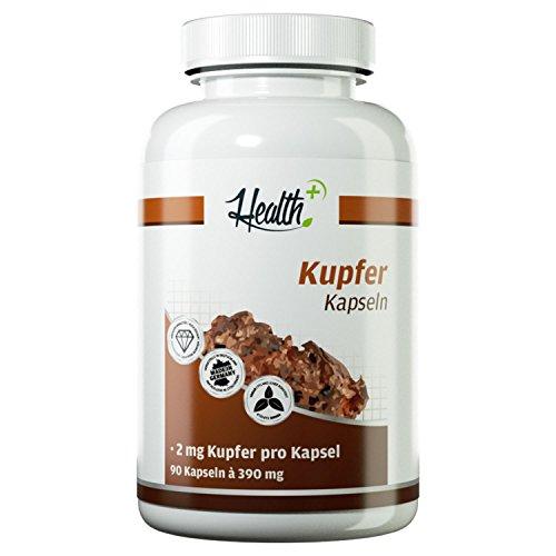 HEALTH+ Kupfer 2mg reines Kupfergluconat - 90 Kapseln, essentielles Spurenelement - wichtig für Eisentransport, Haare, Haut und Immunsystem, Eisenpräparate und Mineralstoffe Made in Germany