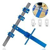 Frifer - Guida di foratura rimovibile,  sagoma di posizionamento, strumento per falegnameria, foratura, tasselli, impugnature dei cassetti, blu, Type A