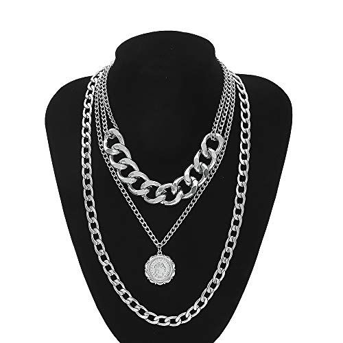 Daimay Legierung Choker Halskette Mehrschicht Porträt Anhänger für Frauen Männer Chunky Chain Punk Gothic Halsketten Pullover Kette - - Supply Chain Kostüm