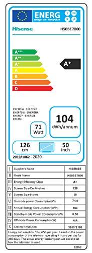 41JQOp7XCPL - Hisense H50BE7000 - Smart TV 50' 4K Ultra HD, 3 HDMI, 2 USB, Salida óptica y de Auriculares, WiFi, HDR, Dolby DTS, Procesador Quad Core, Smart TV VIDAA U 3.0 con IA