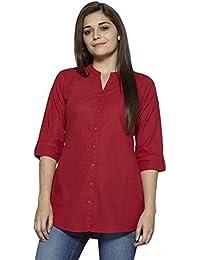 Pistaa Women's Red Solid Cotton Short Top Kurti