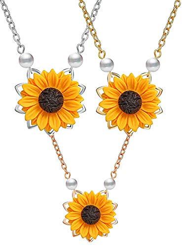 3 stücke süße sonnenblume perle blatt kette harz boho handmade drop anhänger choker halskette vergoldet/rose gold/silber (3 Stück)
