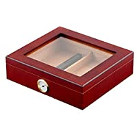 Luxury Cigar Humidor, Handmade Wood Cigar Humidor Box with Hygrometer and Humidifier Glass Top Holds 20-25 Cigars