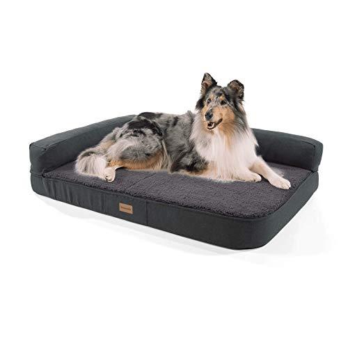 s Hundesofa in Dunkelgrau, waschbar, orthopädisch und rutschfest, Hundekissen mit Abnehmbarer Lehne, Größe L (120 x 80 x 12 cm) ()