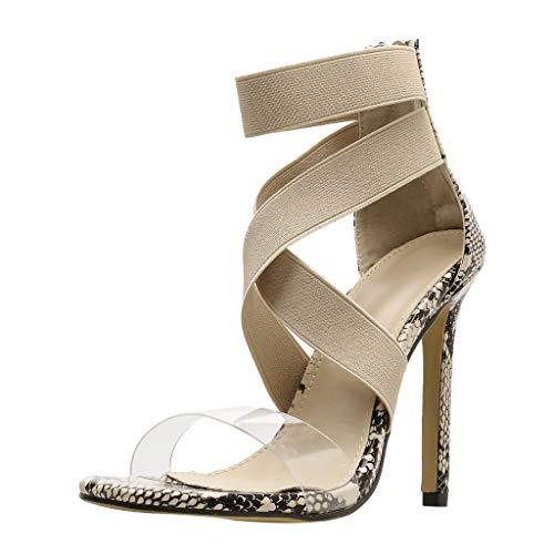 cinnamou High Heels Sandalen, Sexy Frauen Schlangenhaut Muster Cross Strap Rutschfeste Pumps Schuhe High Heel Sandalen