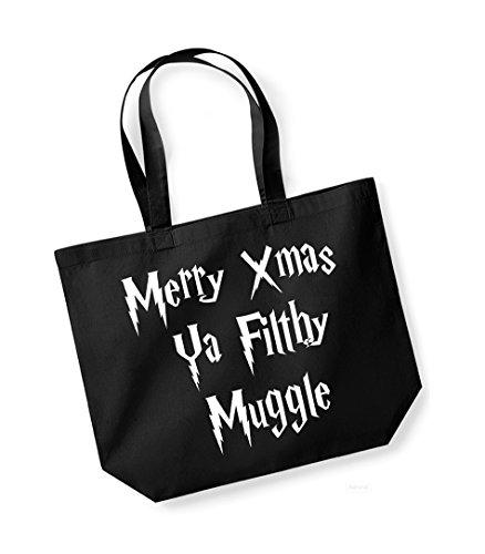 Merry Xmas Ya Filthy Muggle - Large Canvas Fun Slogan Tote Bag Black/White
