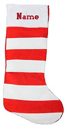 PERSONALISED EMBROIDERED STRIPEY CHRISTMAS STOCKING WITH NAME excluaive to 1stclassgifts st3