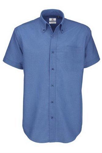 B&c - camicia classica manica corta - uomo (5xl) (blu)