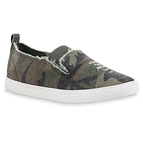 Damen Sneakers Camouflage Schnürer Prints Freizeit Schuhe Camouflage Weiss