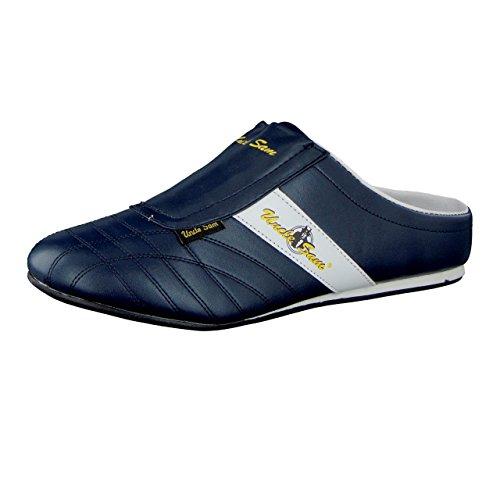 Uncle Sam Herren Fashion Sabots in Blau mit abgesetztem Streifen Navy