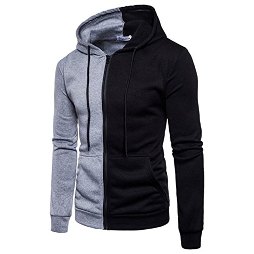 VENMO Männer Hoodie Nähen Outwear Reißverschluss-Mantel Langarm Jacke Sportoberteile Kapuzenpullover Zipped Fleece Sweatjacke mit Kapuze Dicken Sweatshirt Kapuzenpulli Mantel Winter (XXL, Gray) (Golf-mantel Baumwolle)