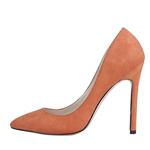 Eks - Chaussures À Talons Hauts Orange-suede Pour Femmes Au Style Décolleté