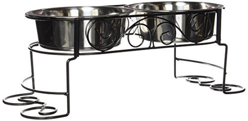 Scroll Work Stainless Steel Double Diner 2 - quart (Double Diner Erhöhte)