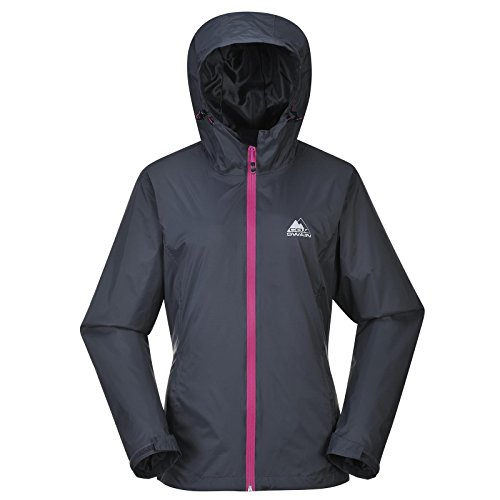 COX SWAIN Damen Outdoor Funktions Regenjacke BREAKER 8.000mm Wassersäule + 5.000mm atmungsaktiv, Colour: Grey/Purple Zipper, Size: S