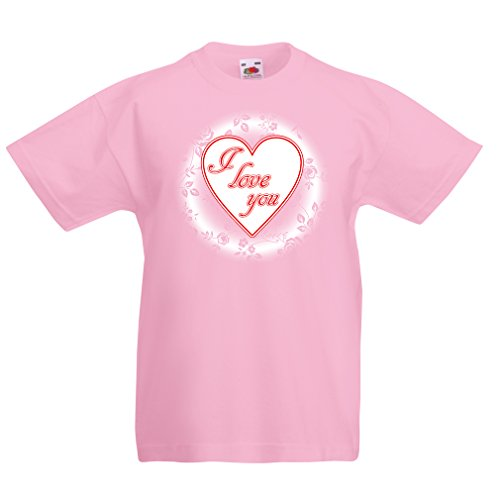 Kinder T-Shirt Ich Liebe Dich - gehalten Valentine (7-8 Years Pink Mehrfarben)