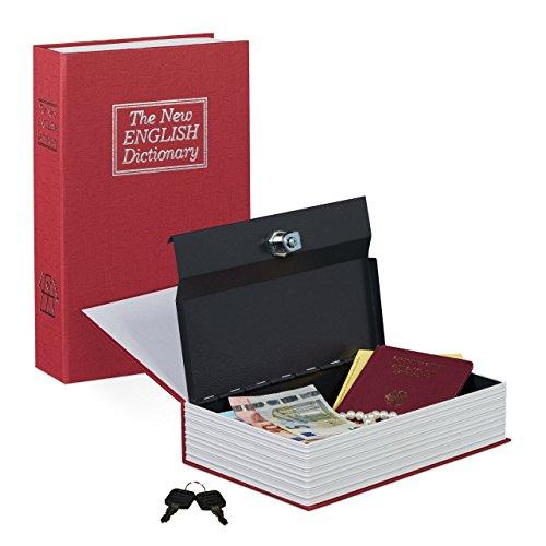 Relaxdays Buchtresor groß, Stahlschließfach in Buchform, mit 2 Schlüsseln, HBT: 24 x 15,5 x 5,5...