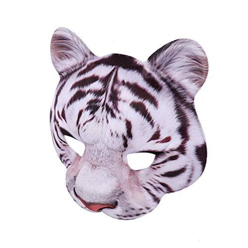 Feinny Unisex Bösewicht Kostüm Partyball Halloween Mardi Gras Halbes Gesicht Tier Maske (18X18CM, Weiß) (Bösewicht Halloween Kostüm)