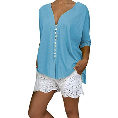 SHE.White Mode Damen Große Größe Spitze Oberteile Sommer Frauen V-Ausschnitt Casual Solide Langarm Geknöpfte Bluse T-Shirt Top Strand Beiläufige Shirt S-5XL