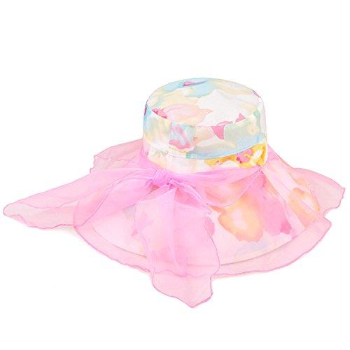 Mme Chapeau De Soleil Des Fleurs En Plein Air Chapeau De Soleil UV Grande Version Coréenne à Larges Bords Chapeau De Soleil De La Bumao Pliable pink