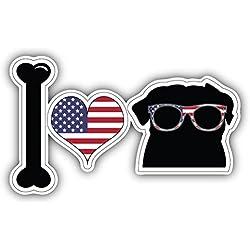 Pegatina de Vinilo I Love Usa Pug Dog 12 X 8 cm