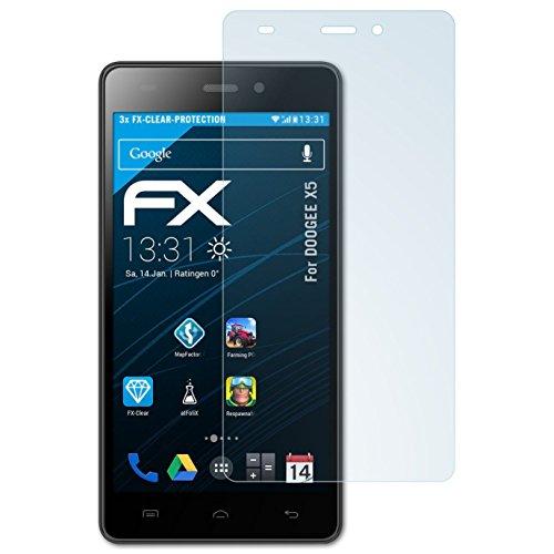 atFolix Schutzfolie kompatibel mit DOOGEE X5 Folie, ultraklare FX Bildschirmschutzfolie (3X)