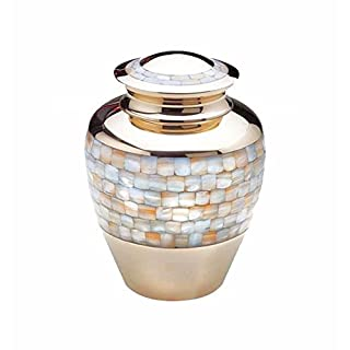 Large Mother of Pearl Gold Urn for Adult or Pet Dog Ashes Cremains Memorial